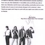 Podziękowania od zespołu Guano Apes za miłą obsługę podczas ESK Rzeszów 2013